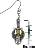 Jewelry Trends Pewter Rhinestone Egyptian Scarab Earrings
