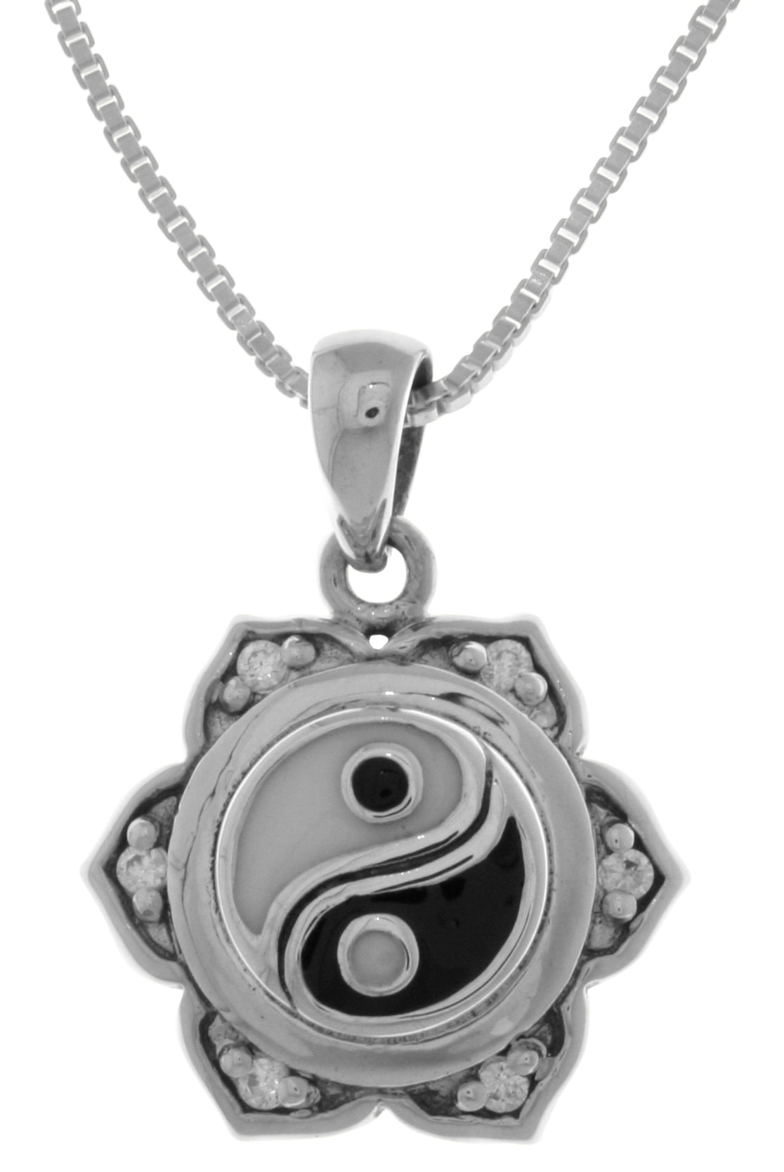 Jewelry Trends Sterling Silver Yin Yang Lotus Flower Pendant with CZ's on 18 Inch Box Chain Necklace