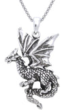 Jewelry Trends Sterling Silver Flying Dragon Pendant on 18 Inch Box Chain Necklace