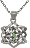 Jewelry Trends Pewter Rhinestone Celtic Good Fortune Knot Pendant with 24 Inch Chain Necklace