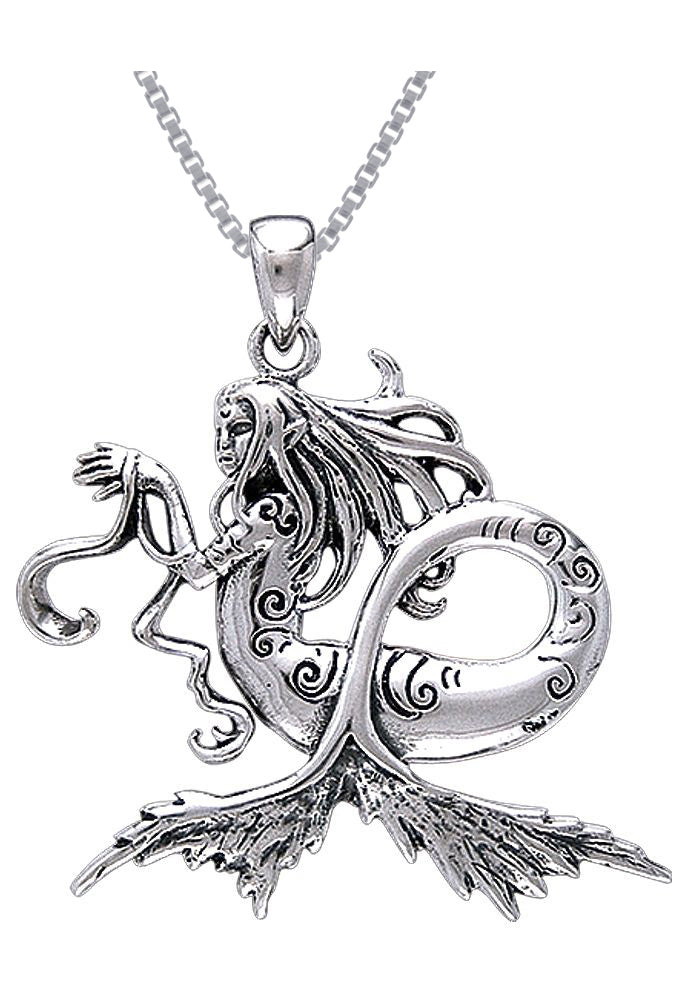 Jewelry Trends Sterling Silver Sea Mermaid Pendant on 18 Inch Box Chain Necklace Amy Brown
