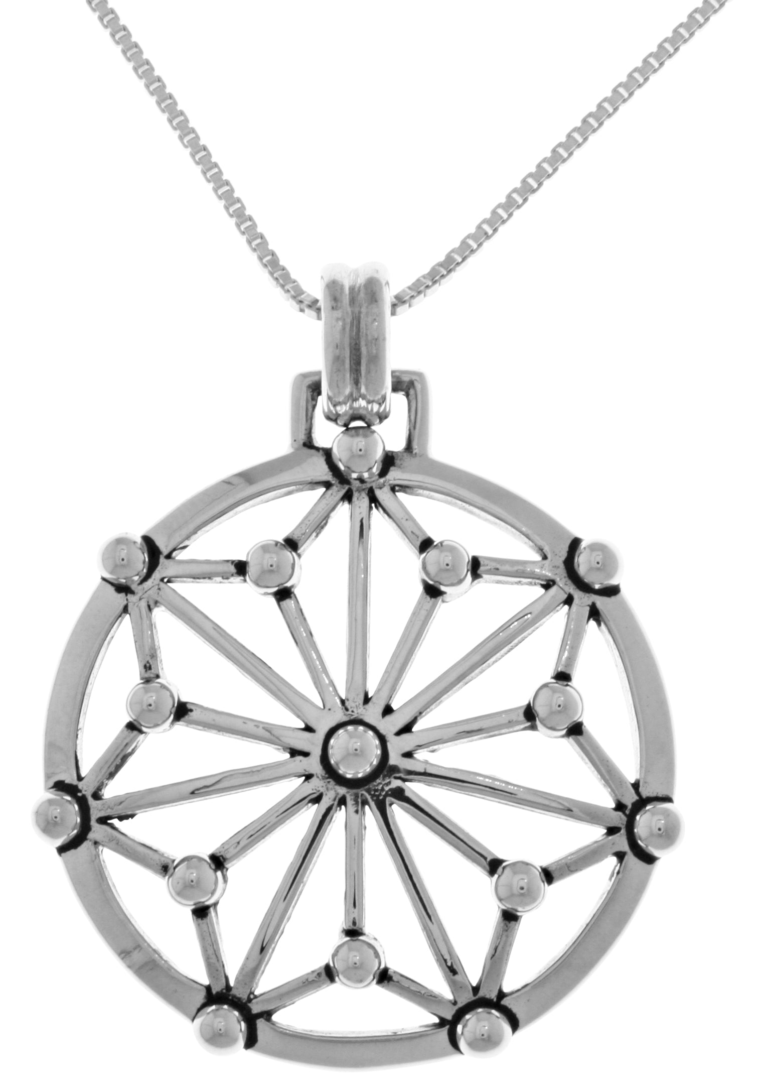 Jewelry Trends Sterling Silver GIN Energy Star Pendant on 18 Inch Box Chain Necklace