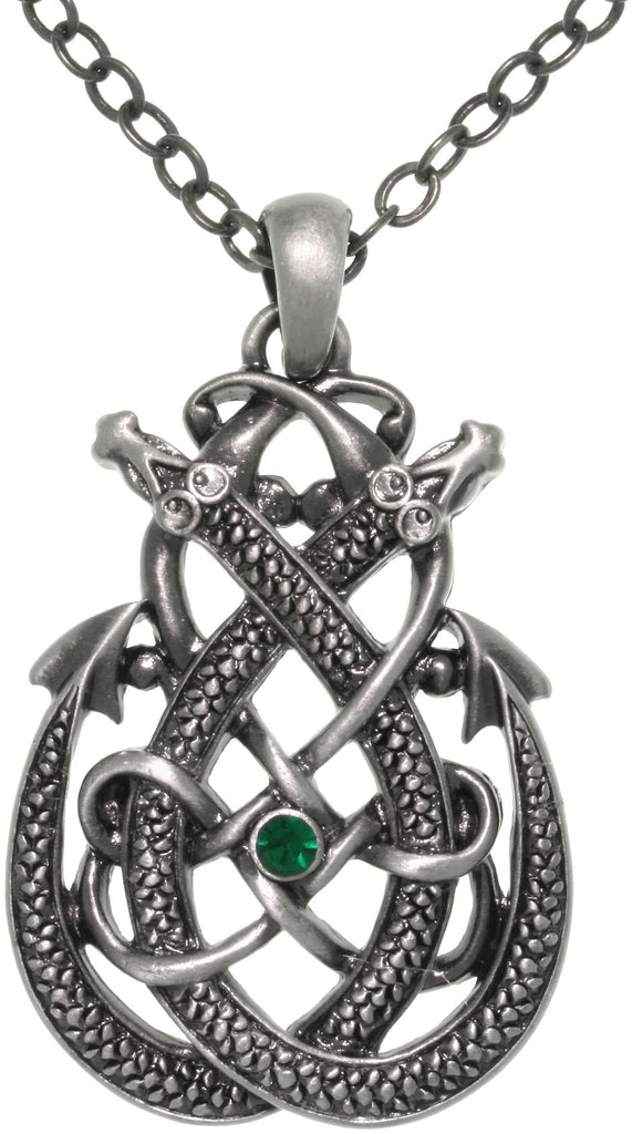 Jewelry Trends Pewter Celtic Dragon Teardrop Knot Pendant on 24 Inch Chain Necklace
