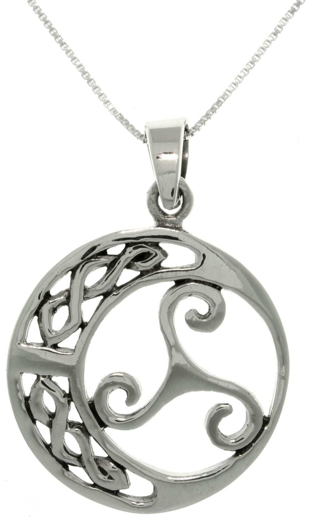 Jewelry Trends Sterling Silver Celtic Moon Trinity Knot Pendant with 18 Inch Box Chain Necklace
