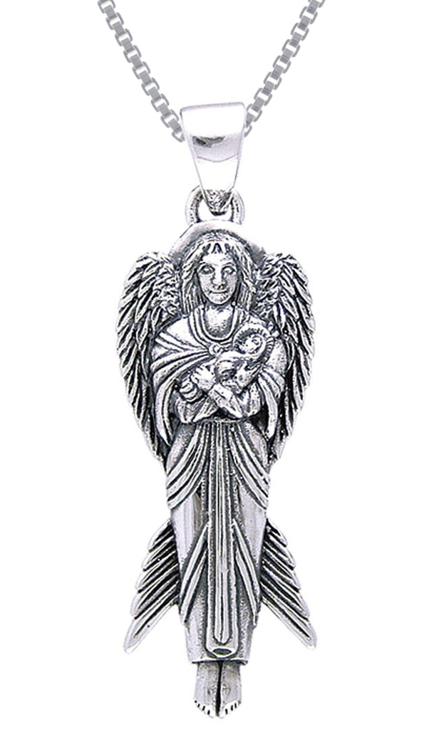 Jewelry Trends Sterling Silver Angel of New Hope with Baby Pendant on 18 Inch Box Chain Necklace
