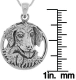 Jewelry Trends Sterling Silver Golden Retriever Canine Dog Pendant on 18 Inch Box Chain Necklace