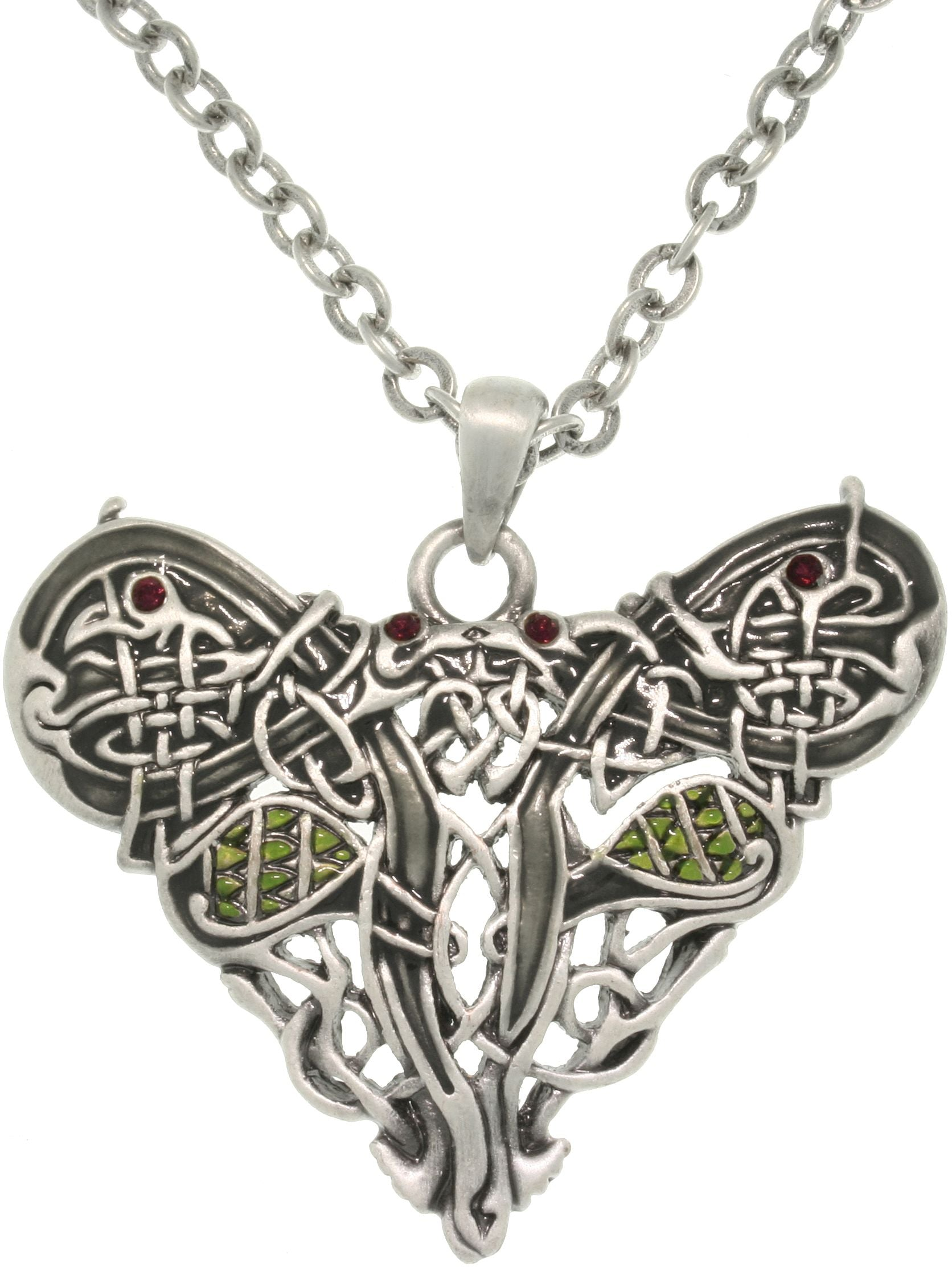 Jewelry Trends Pewter Crystal Celtic Dragon Heart Pendant with 23 Inch Chain Necklace