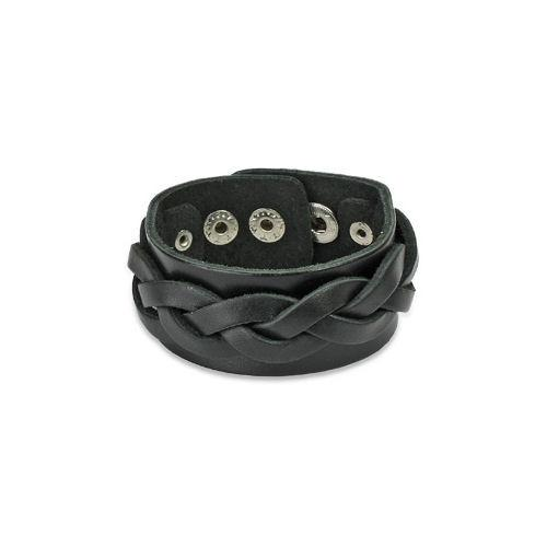 Jewelry Trends Black Genuine Leather Bracelet with Braided Center Strap and Adjustable Snaps