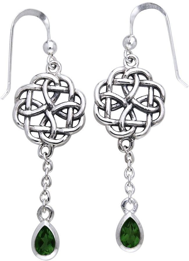 8ef7affcc ... Jewelry Trends Sterling Silver Celtic Knot Dark Green Glass Dangle  Chain Earrings