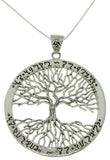 Jewelry Trends Sterling Silver Celtic Tree of Life Pendant with Rune Message on 18 Inch Box Chain Necklace