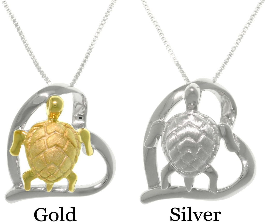 Jewelry Trends Goldplated Sterling Silver Turtle in Heart Pendant on 18 Inch Box Chain Necklace
