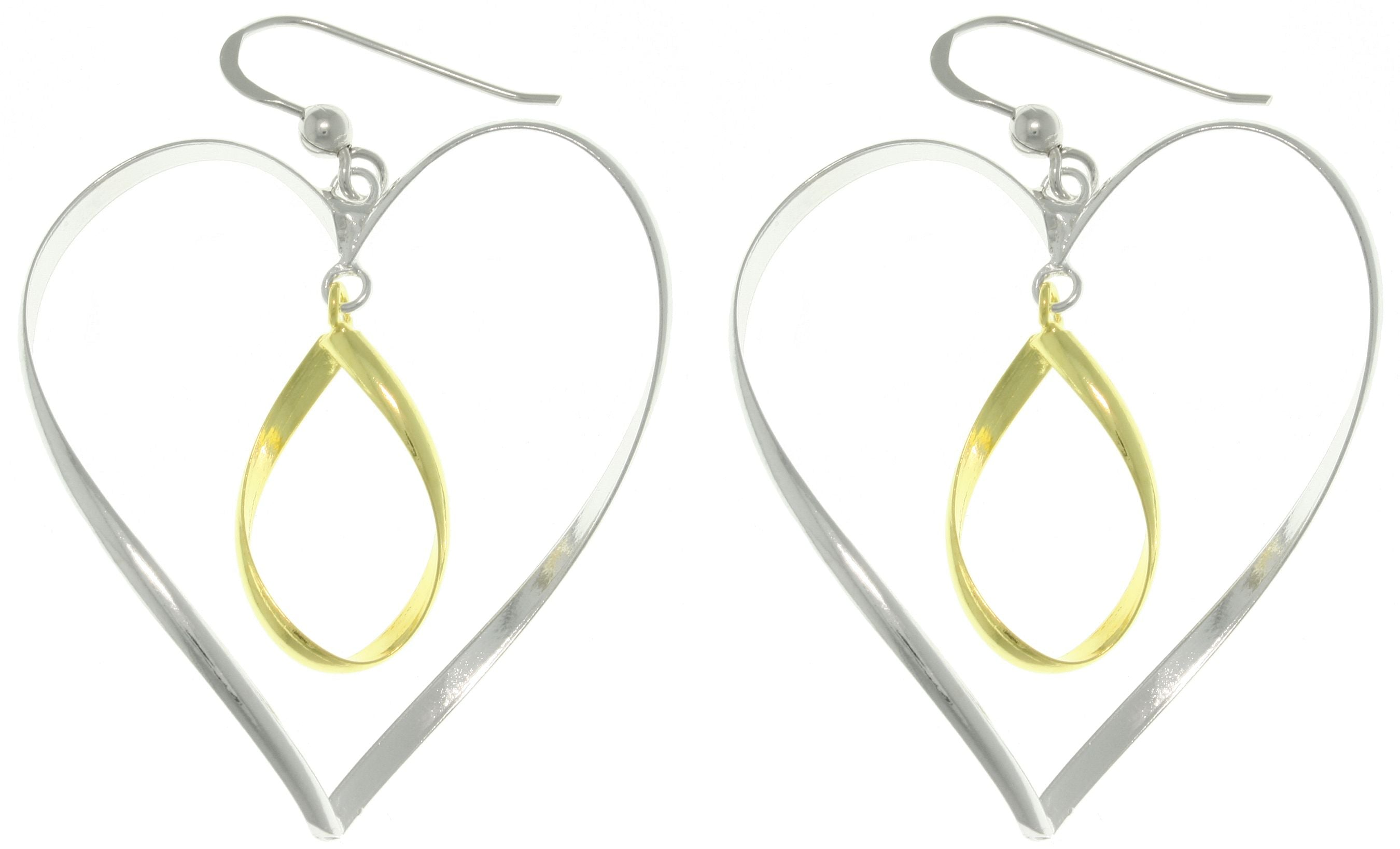 Jewelry Trends 14k Gold Over Silver Heart and Oval Earrings