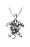 Jewelry Trends Sterling Silver Turtle Pendant with Aboriginal Tribal Designs on 18 Inch Box Chain Necklace