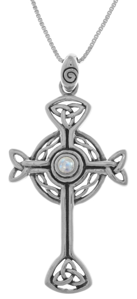 Jewelry Trends Sterling Silver Celtic Trinity Circle of Life Cross Pendant with Moonstone on 18 Inch Chain Necklace