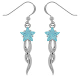 Jewelry Trends Sterling Silver Shooting Star Dangle Earrings with Blue CZ