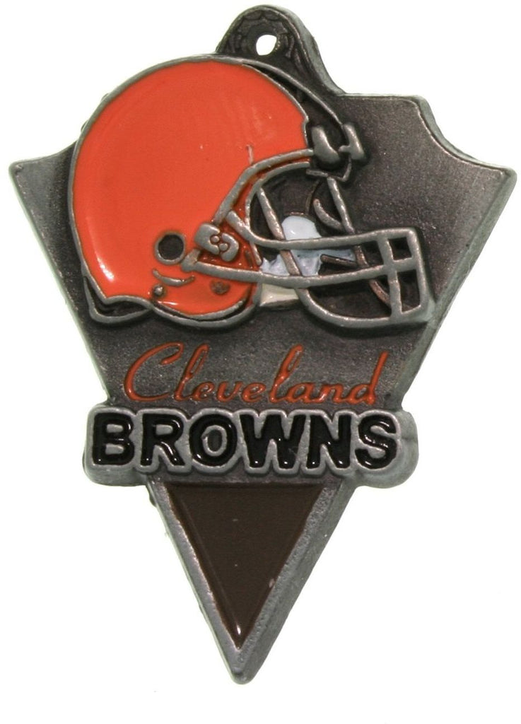 Jewelry Trends Pewter Cleveland Browns NFL Pennant Pendant on Black Leather Necklace