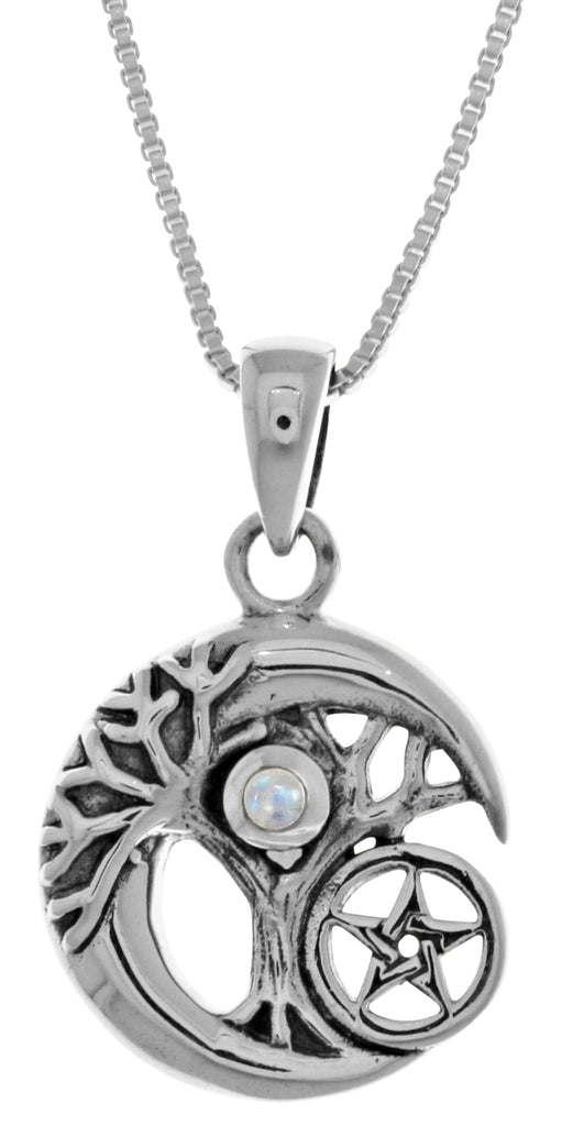 Jewelry Trends Sterling Silver Celtic Tree of Life Moon and Star Pendant with Moonstone on 18 Inch Chain Necklace