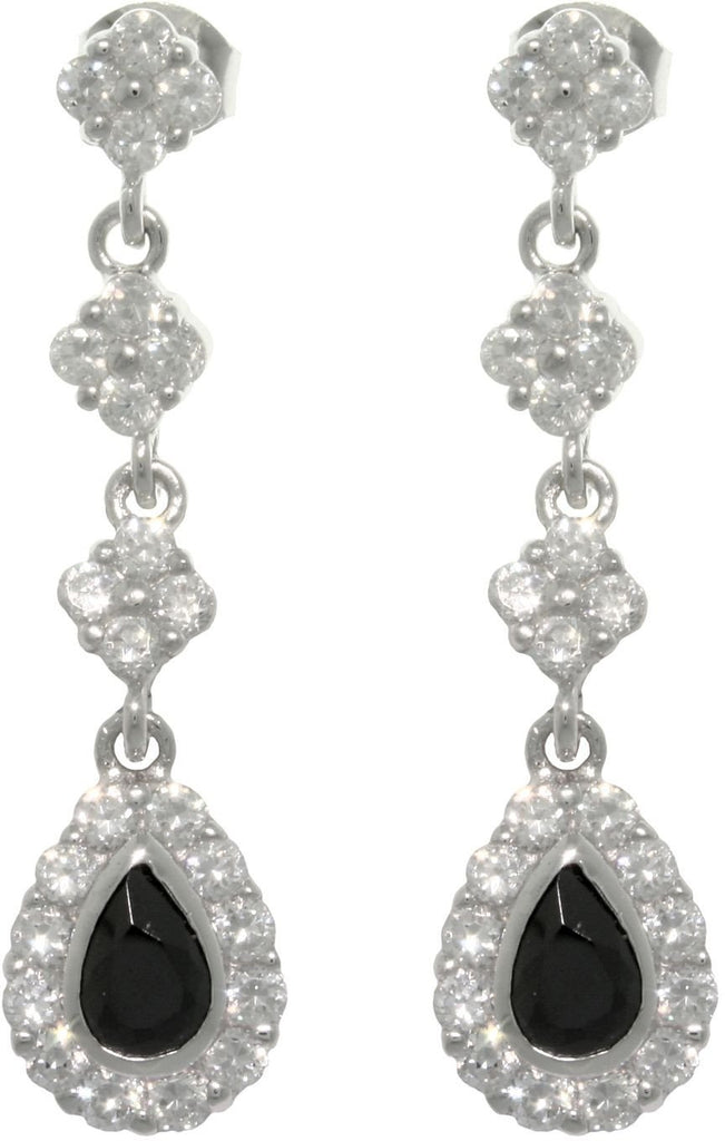 Jewelry Trends Sterling Silver White and Black Cubic Zirconia Dangle Earrings
