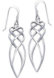 Jewelry Trends Sterling Silver Elegant Celtic Knot Work Long Dangle Earrings
