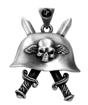 Jewelry Trends Double Dagger Skull Helmet Pewter Pendant with 26 Inch Rubber Cord Necklace