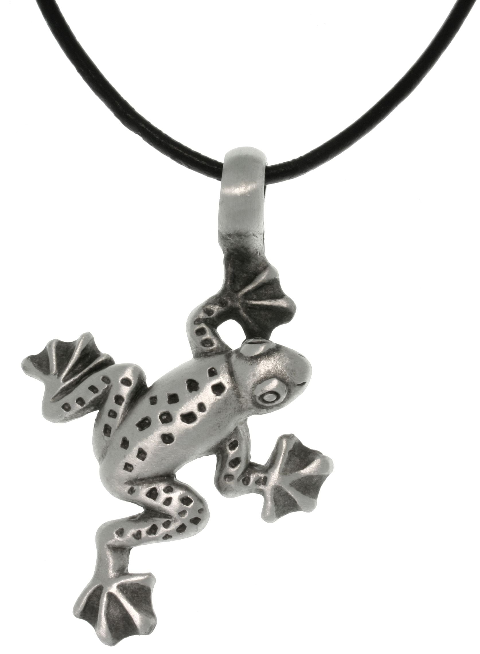 Jewelry Trends Pewter Jumping Frog Pendant with 18 Inch Black Leather Cord Necklace