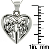 Jewelry Trends Sterling Silver Celtic Knot Heart Pendant with 18 Inch Box Chain Necklace Mothers Day Gift