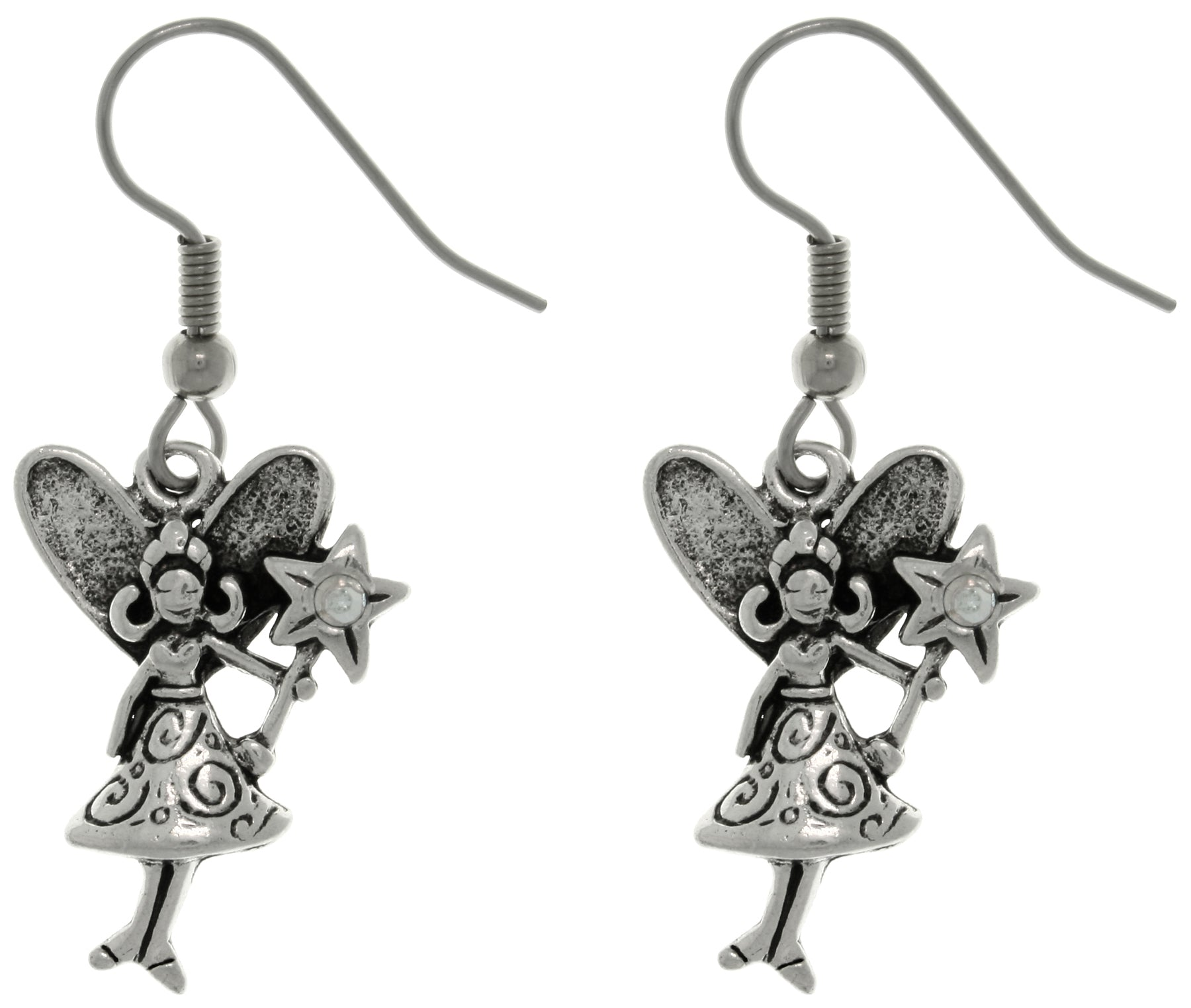 Jewelry Trends Pewter Magic Pixie Fairy with Crystal Wand Dangle Earrings