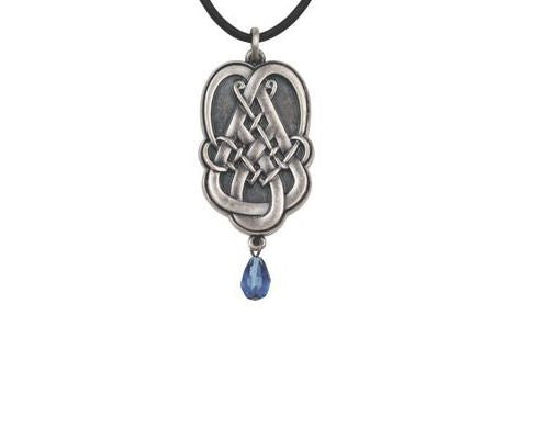 Jewelry Trends Celtic Teardrop Pewter Pendant with 26 Inch Rubber Cord Necklace