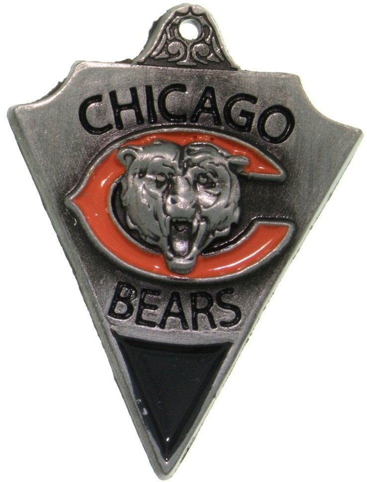Jewelry Trends Pewter Chicago Bears NFL Pennant Pendant on Black Leather Necklace
