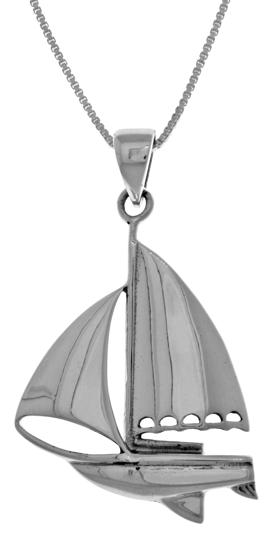 Jewelry Trends Sterling Silver Nautical Sailboat Pendant on 18 Inch Box Chain Necklace