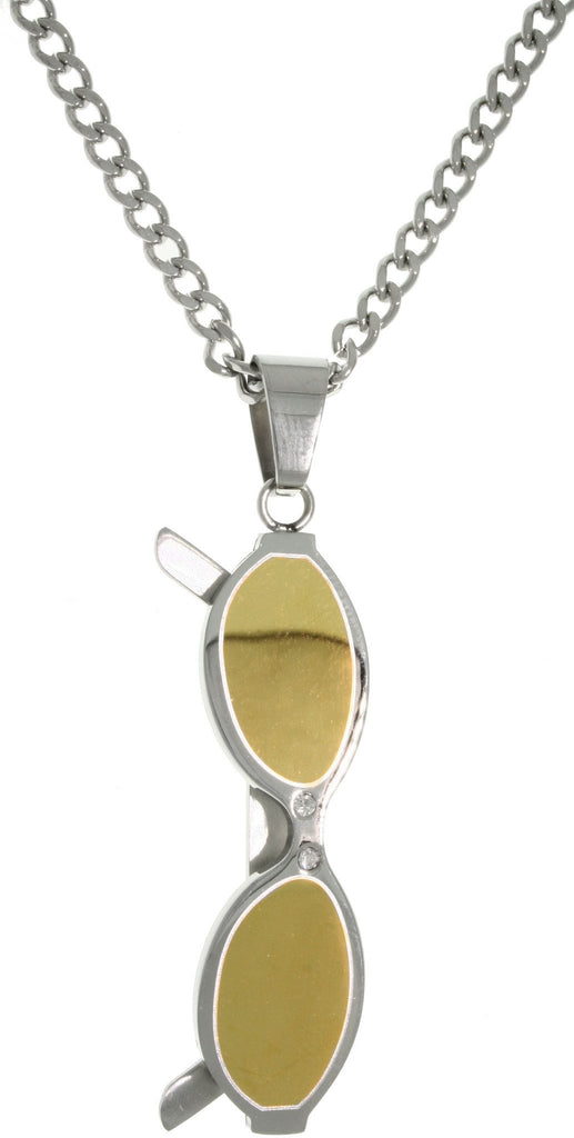 Jewelry Trends 316L Stainless Steel Golden Two Tone Sunglasses Charm Pendant on Curb Chain Necklace