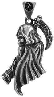 Jewelry Trends Soul Bringer Grim Reaper Pewter Pendant with 26 Inch Rubber Cord Necklace