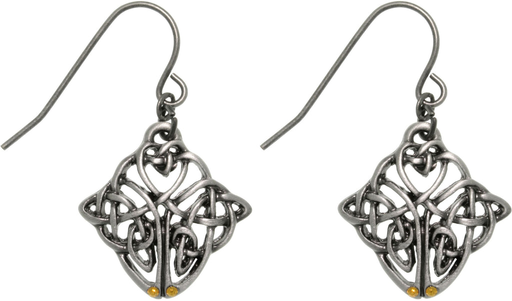 Jewelry Trends Pewter Celtic Knot Endurance Medallion Dangle Earrings
