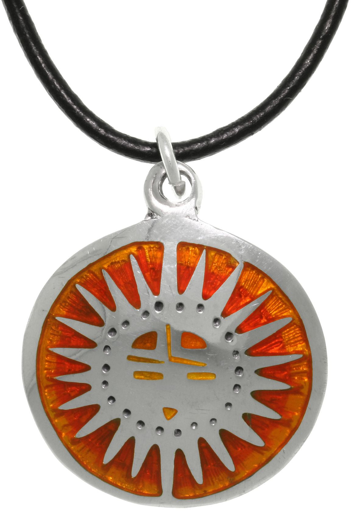 Jewelry Trends Mexican Sun Rise Pewter Celestial Pendant on Black Leather Cord Necklace