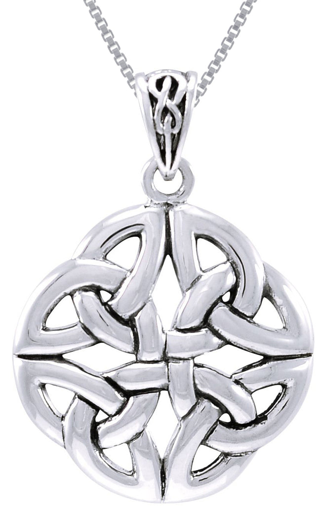 Jewelry Trends Sterling Silver Celtic Trinity Quadrata Pendant on 18 Inch Box Chain Necklace