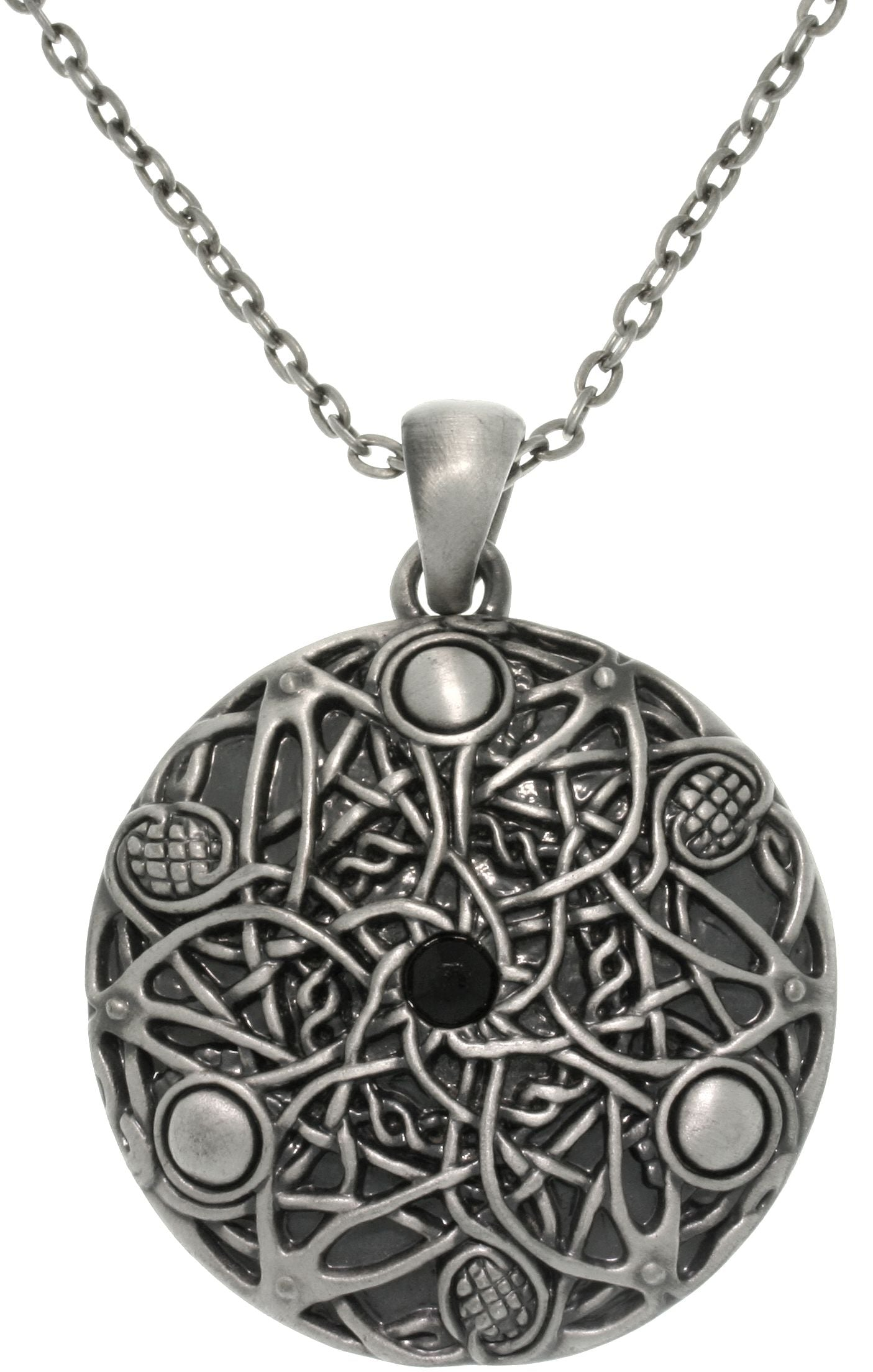 Jewelry Trends Pewter Celtic Round Pendant with 24 Inch Chain Necklace