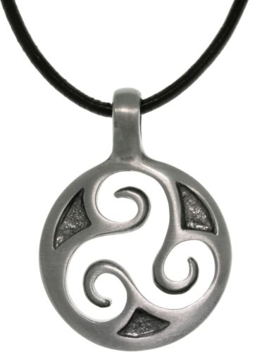 Jewelry Trends Pewter Celtic Triskelion Trinity Spiral Pendant with 18 Inch Black Leather Cord Necklace Fathers Day Gift