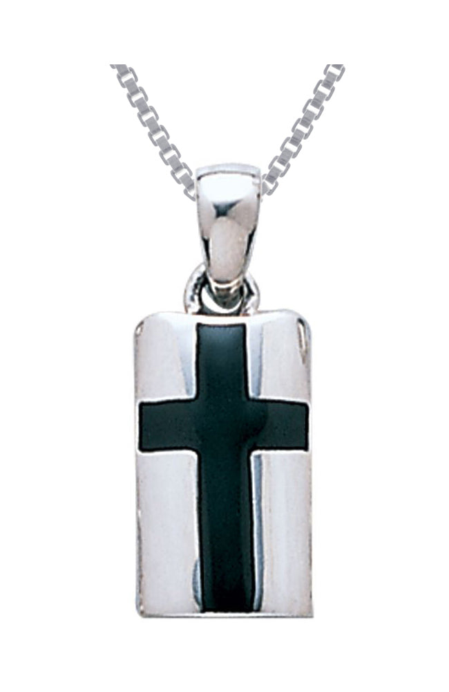 Jewelry Trends Sterling Silver Celtic Cross Pendant with Black Onyx on 18 Inch Box Chain Necklace