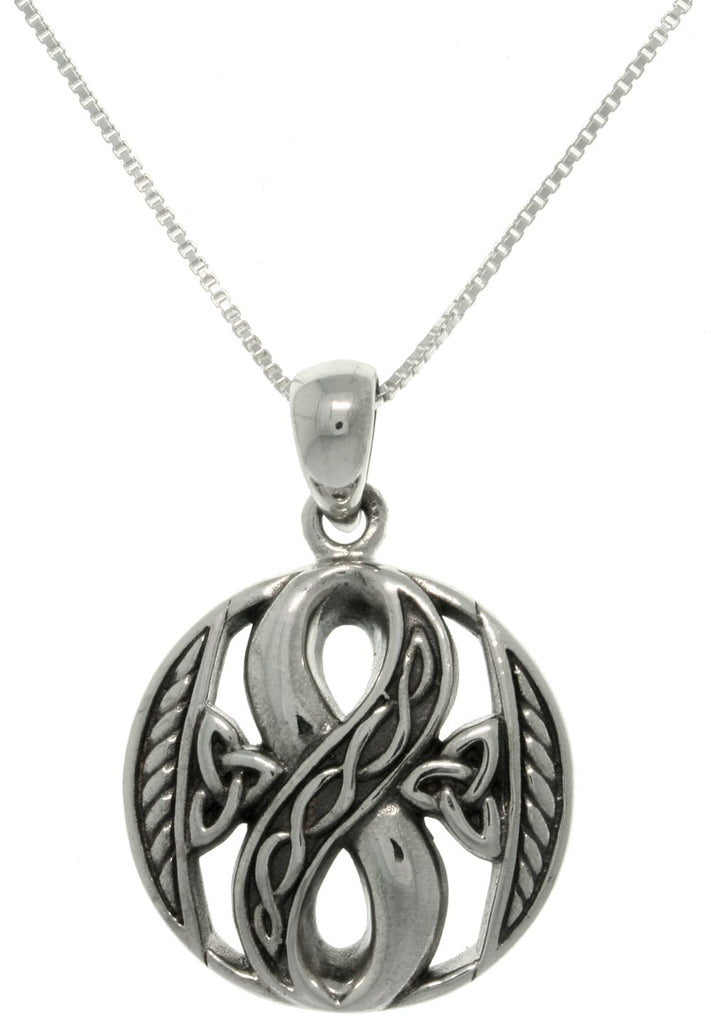 Jewelry Trends Sterling Silver Infinity Knot Celtic Pendant on 18 Inch Box Chain Necklace