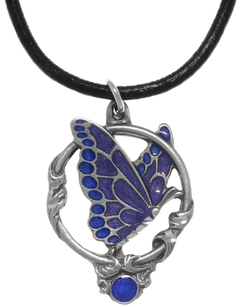 Jewelry Trends Pewter Butterfly Pendant with Deep Blue Wings in Circle Hoop on Leather Necklace