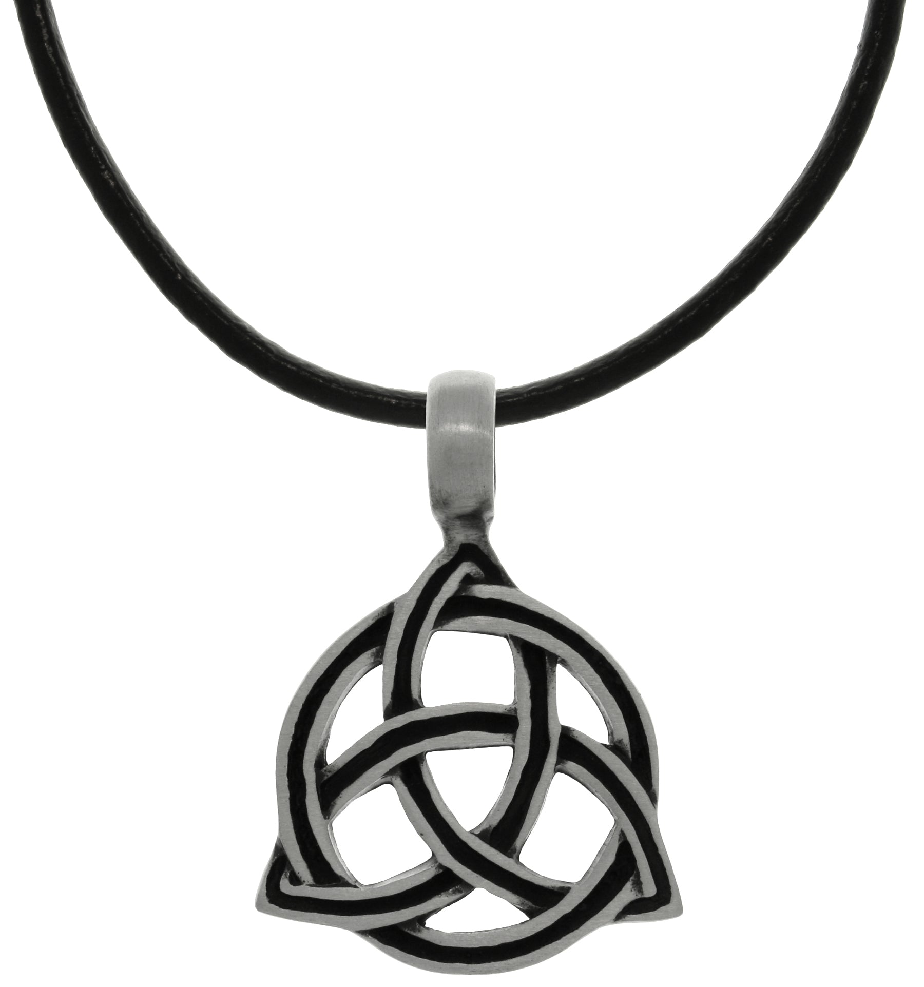 Jewelry Trends Pewter Celtic Triangle Trinity Knot with Circle of Life on Black Leather Necklace