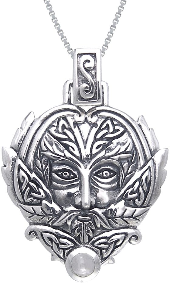 Jewelry Trends Sterling Silver Celtic Green Man Trinity Moonstone Pendant with 18 Inch Box Chain Necklace Greenman