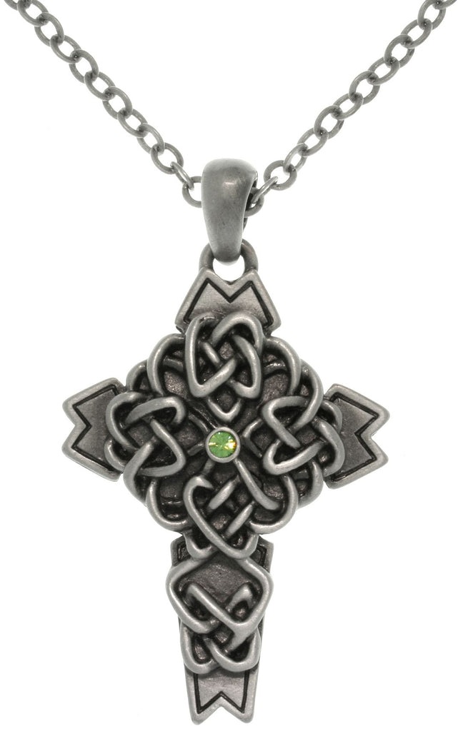 Jewelry Trends Pewter Celtic Cross Pendant with Green Crystal on Chain Necklace