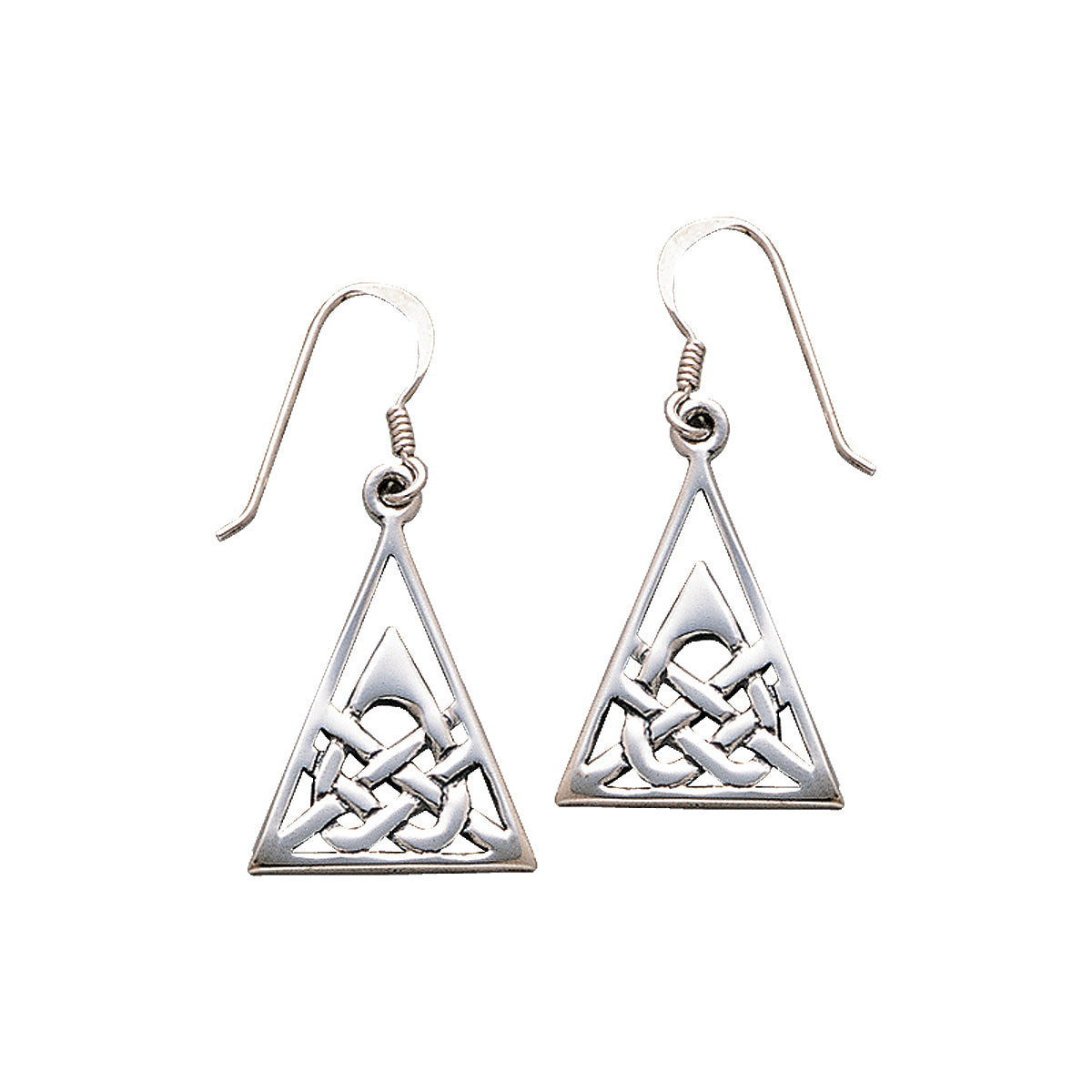 Jewelry Trends Sterling Silver Celtic Heart and Triangle Knot Work Dangle Earrings