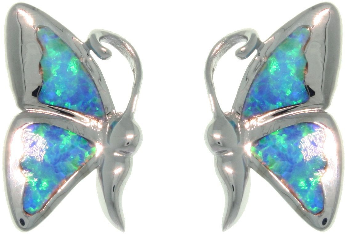 Jewelry Trends Sterling Silver Butterfly Post Earrings with Created Blue Opal Wings