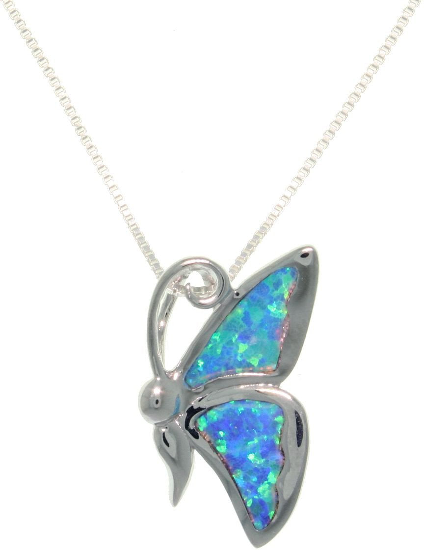 Jewelry Trends Sterling Silver Created Opal Butterfly Pendant with 18 Inch Box Chain Necklace