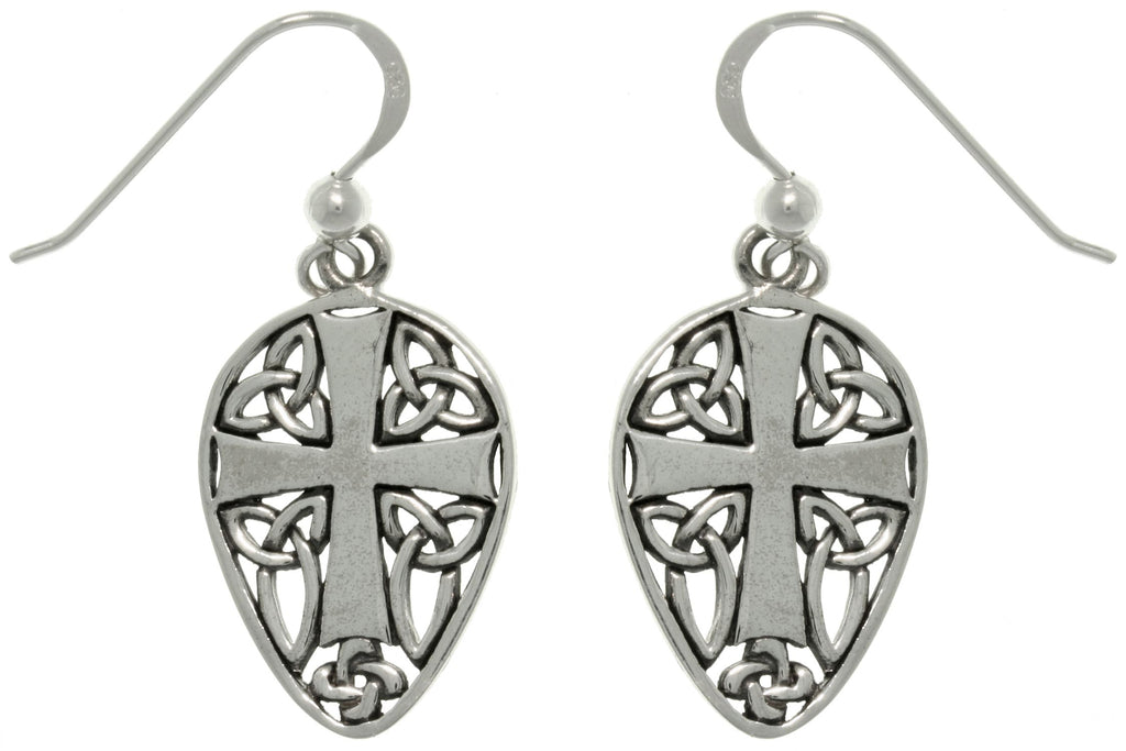 Jewelry Trends Sterling Silver Cross and Celtic Knots Shield Dangle Earrings