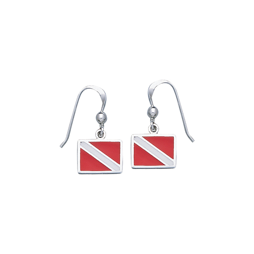 Jewelry Trends Sterling Silver Scuba Diver Down Flag Red Enameled Dangle Earrings