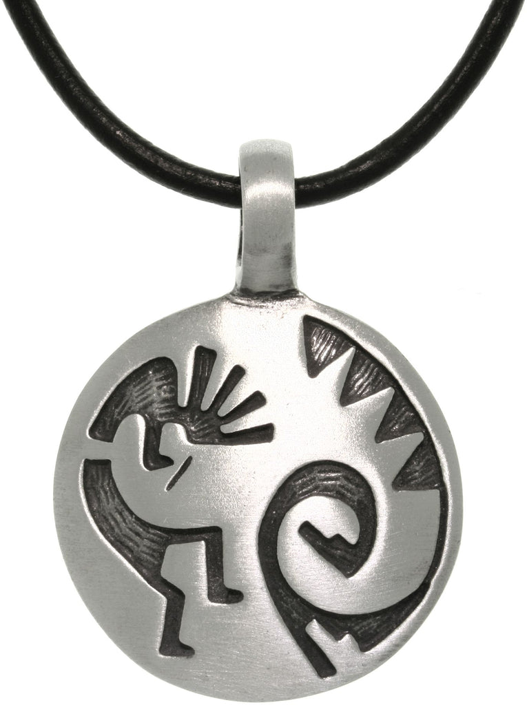 Jewelry Trends Pewter Etched Kokopelli Pendant with 18 Inch Black Leather Cord Necklace