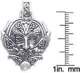 Jewelry Trends Sterling Silver Celtic Green Man Trinity Pendant on 18 Inch Box Chain Necklace Greenman